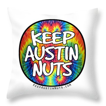 Keep Austin Nuts Throw Pillow by Ismael Cavazos