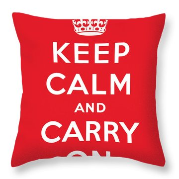 Keep Calm And Carry On Throw Pillow by English School