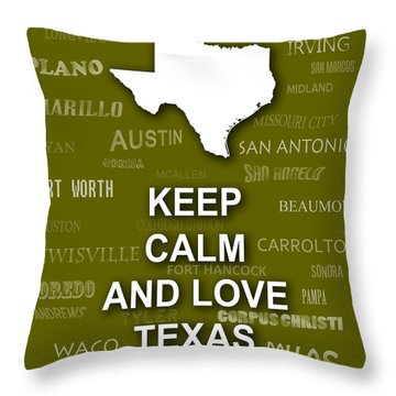 Keep Calm And Love Texas State Map City Typography Throw Pillow