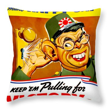 Keep Em Pulling For Victory - Ww2 Throw Pillow