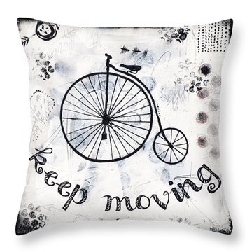Throw Pillow featuring the mixed media Keep Moving Forward by Stanka Vukelic