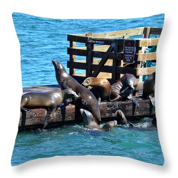 Keep Off The Dock - Sea Lions Can't Read Throw Pillow