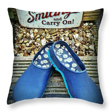 Keep Smiling And Carry On Throw Pillow