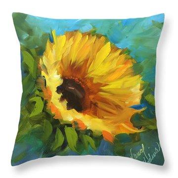 Keep Smiling Sunflower Throw Pillow by Nancy Medina