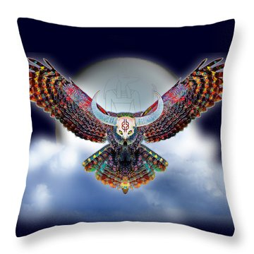 Throw Pillow featuring the digital art Keeper Of The Night by Iowan Stone-Flowers