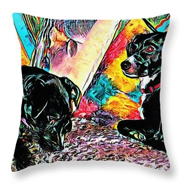Keeping Themselves Occupied Throw Pillow