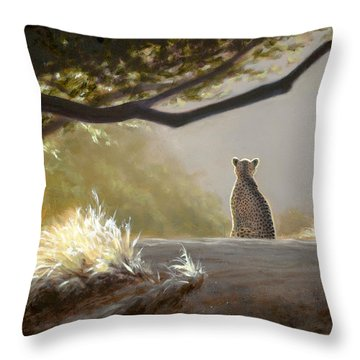 Keeping Watch - Cheetah Throw Pillow