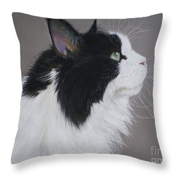 Keeps - Maine Coon Throw Pillow by Joanne Simpson