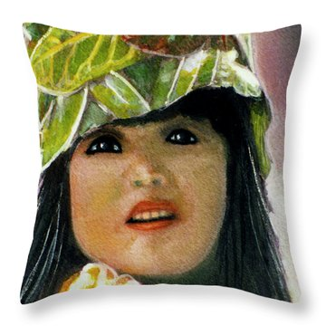 Keiki Child In Hawaiian #115 Throw Pillow by Donald k Hall