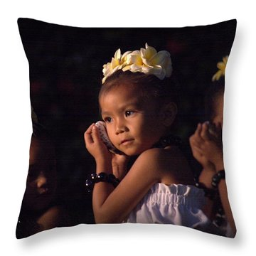 Throw Pillow featuring the photograph Keiki Conch Shell Hula by Lori Seaman