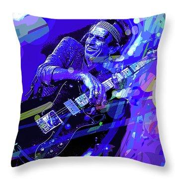 Keith Richards Blue Throw Pillow