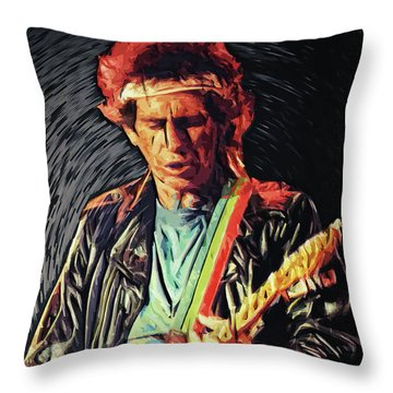 Throw Pillow featuring the photograph Keith Richards by Taylan Apukovska
