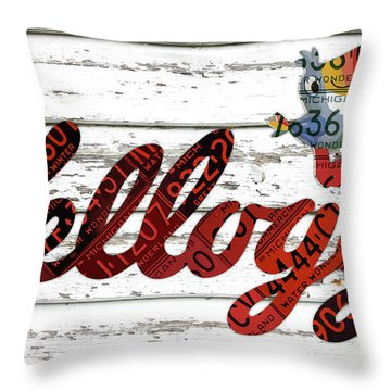 Kelloggs Fruit Loops Cereal Michigan Vintage License Plate Art Throw Pillow By Design Turnpike