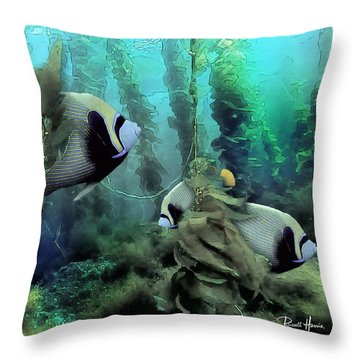 Kelp And Queen Anglefish Throw Pillow