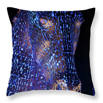 Kelpies Scotland Throw Pillow by Terry Cosgrave