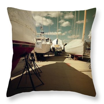 Throw Pillow featuring the photograph Kennebunk...springtime In The Boatyard by Samuel M Purvis III