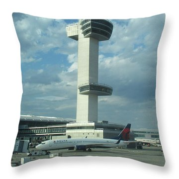 Kennedy Airport Control Tower Throw Pillow