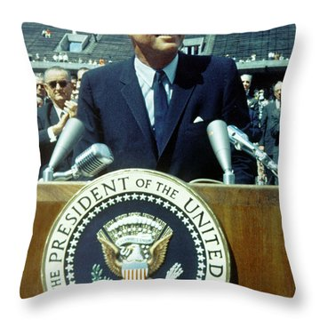 Kennedy At Rice University Throw Pillow