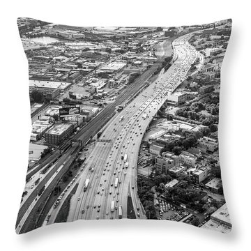 Kennedy Expressway And Chicago Skyline Throw Pillow