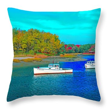 Throw Pillow featuring the photograph Kennebunkport, Maine, Lobster Boats by Tom Jelen