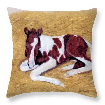 Throw Pillow featuring the pastel Keno by Jan Amiss