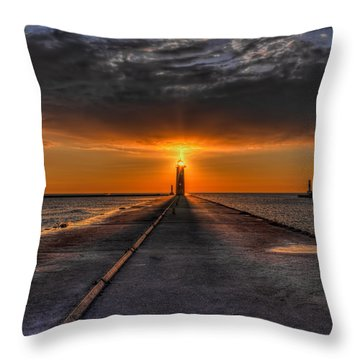Kenosha Lighthouse Beacon Square Throw Pillow