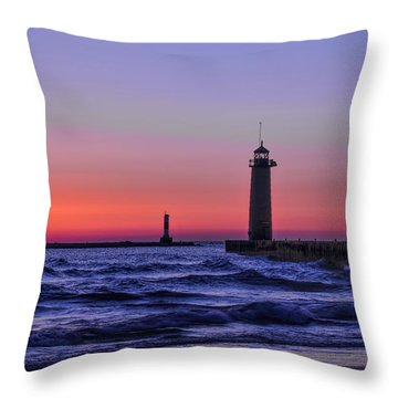 Kenosha Lighthouse Blue Waves Throw Pillow