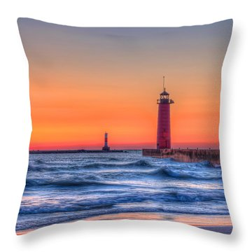 Kenosha Lighthouse Dawn Throw Pillow