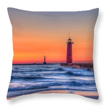 Kenosha Lighthouse Dawn Throw Pillow