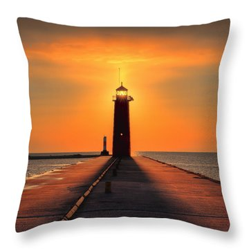 Kenosha Lighthouse Shining Light Throw Pillow