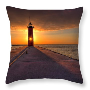 Kenosha Lighthouse Sunrise Throw Pillow