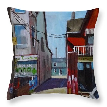 Kensington Market Laneway Throw Pillow