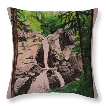 Throw Pillow featuring the painting Kent Falls by Hilda and Jose Garrancho