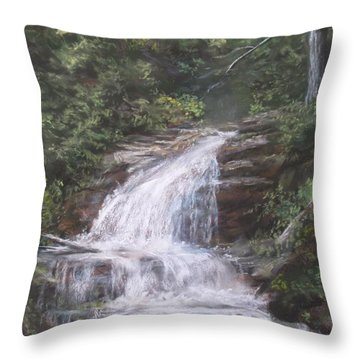 Throw Pillow featuring the pastel Kent Falls by Jack Skinner