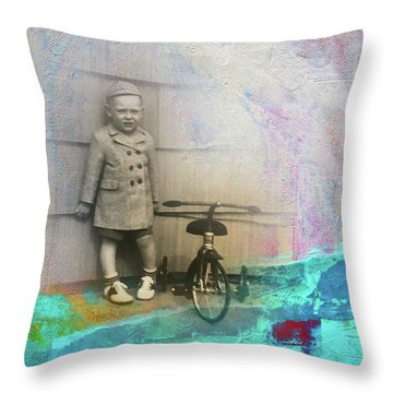 Throw Pillow featuring the mixed media Kent Tricycle by Nancy Merkle
