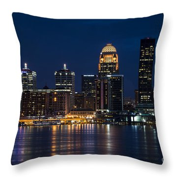 Louisville At Night Throw Pillow