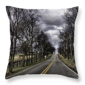 Kentucky Backroads Throw Pillow by Linda Mesibov
