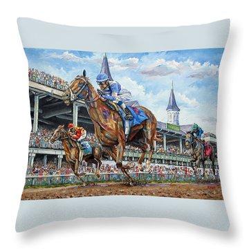 Kentucky Derby - Horse Racing Art Throw Pillow