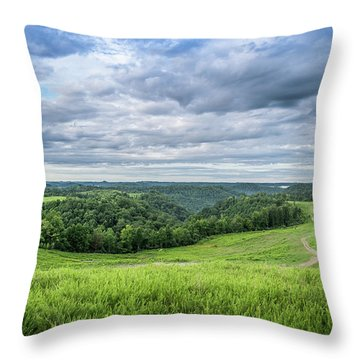 Kentucky Hills And Clouds Throw Pillow