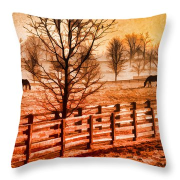 Kentucky Horse Farm  Throw Pillow by Dennis Cox WorldViews