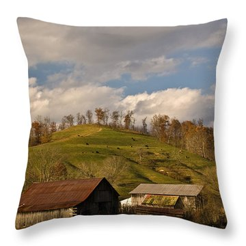 Kentucky Mountain Farmland Throw Pillow