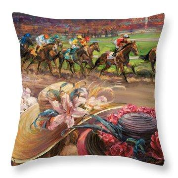 Kentucy Derby Ladies Throw Pillow