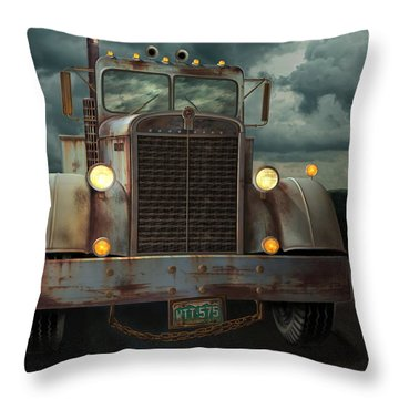 Throw Pillow featuring the digital art Kenworth Old Workhorse by Stuart Swartz