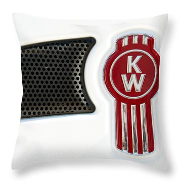 Kenworth Tractor White Throw Pillow