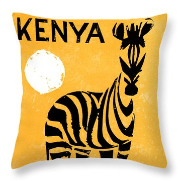 Kenya Africa Vintage Travel Poster Restored Throw Pillow