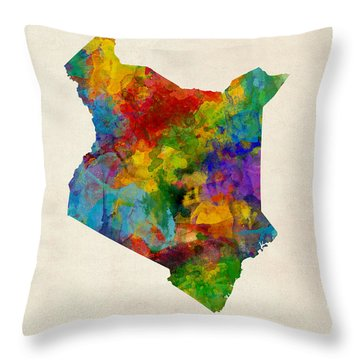 Throw Pillow featuring the digital art Kenya Watercolor Map by Michael Tompsett
