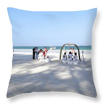 Kenya Wedding On Beach Wide Scene Throw Pillow