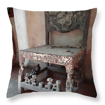 Kenyan African Antique Carved Chair Throw Pillow