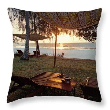 Kenyan African Beach Sunrise 2 Throw Pillow