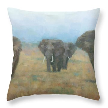 Kenyan Elephants Throw Pillow